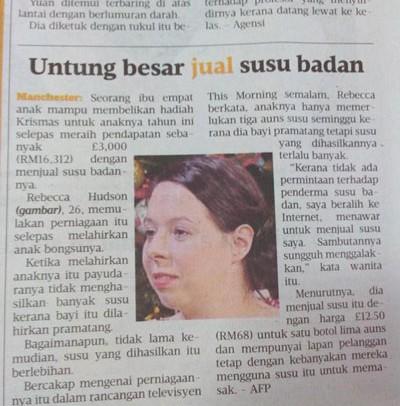 Susu Ibu Berharga RM16 ribu